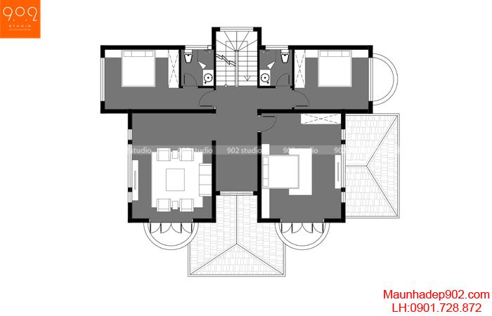 Mặt bằng tầng 2 - Mẫu biệt thự 3 tầng 130m2 5 phòng ngủ