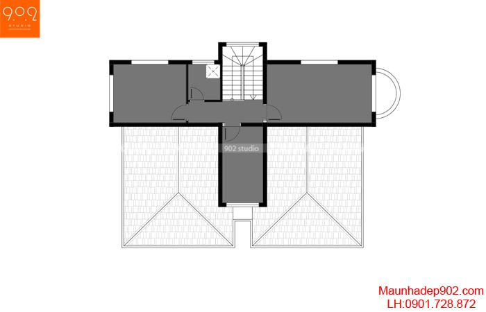 Mặt bằng tầng 3 - Mẫu biệt thự 3 tầng 130m2 5 phòng ngủ