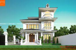 Mặt tiền biệt thự 3 tầng đẹp ở Hà Nội