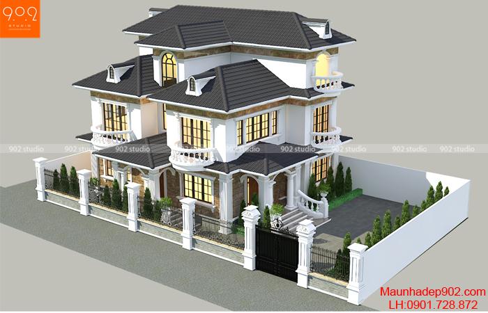 Phối cảnh tổng thể ngôi biệt thự 3 tầng đẹp