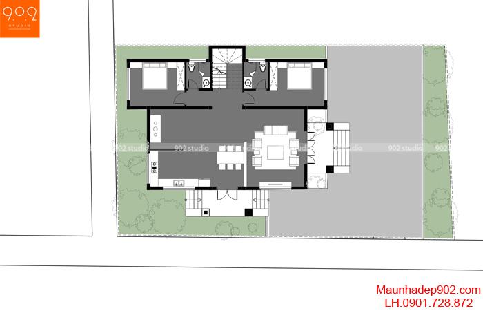 Mặt bằng tầng 1 - Mẫu biệt thự 3 tầng 130m2 5 phòng ngủ