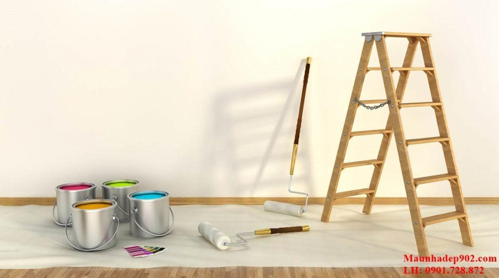 Bạn hãy sử dụng con lăn hoặc chổi quét để có thể lăn sơn lên bề mặt của tường