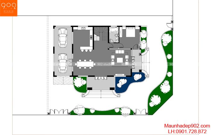 Mặt bằng tầng 1 - Mẫu biệt thự 3 tầng đẹp