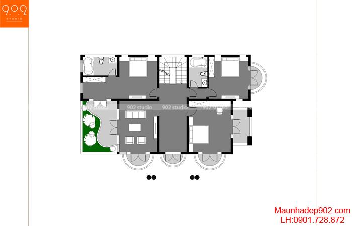 Mặt bằng tầng 2 - Mẫu biệt thự 3 tầng đẹp