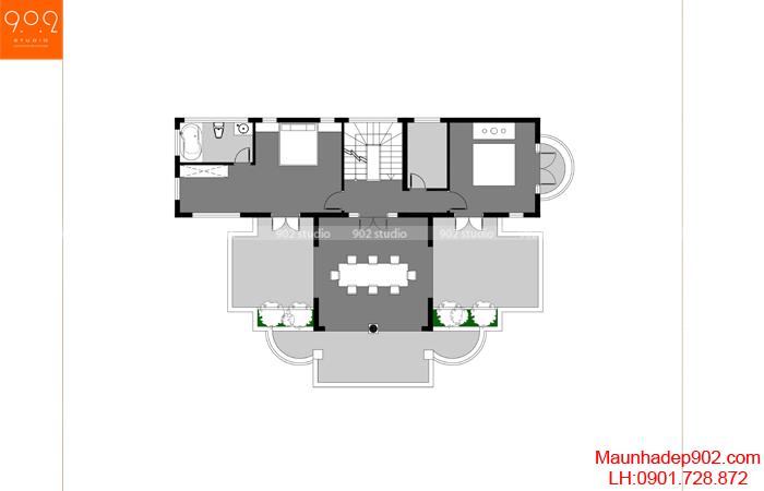 Mặt bằng tầng 3 - Mẫu biệt thự 3 tầng đẹp