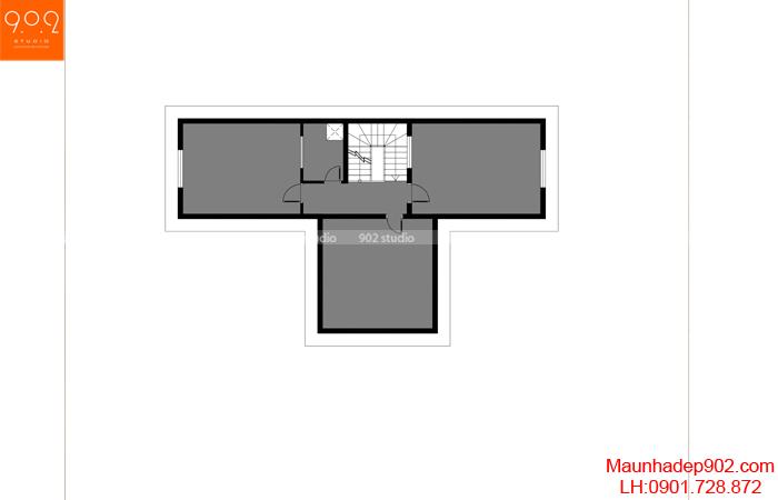 Mặt bằng tầng mái - Mẫu biệt thự 3 tầng đẹp
