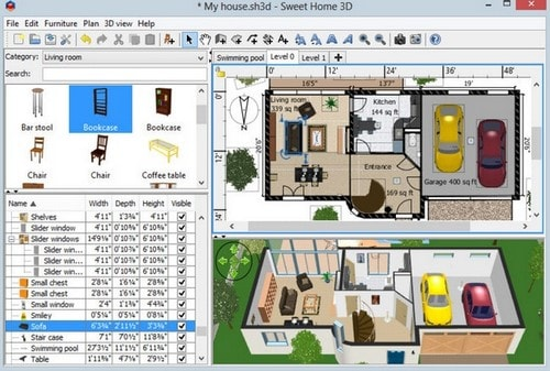 Phần mềm Sweet Home 3D với định dạng 2D và 3D