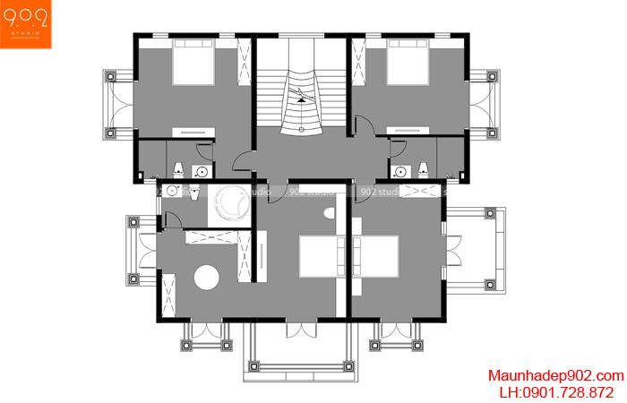 Mặt bằng tầng 2 - Biệt thự 3 tầng đẹp