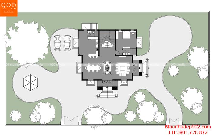 Mặt bằng tầng 1- Biệt thự 3 tầng đẹp BT184