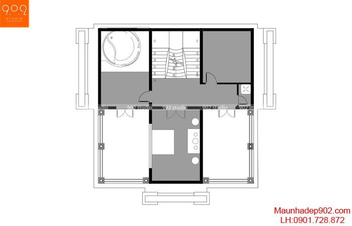 Mặt bằng tầng 3 - Biệt thự 3 tầng đẹp BT184