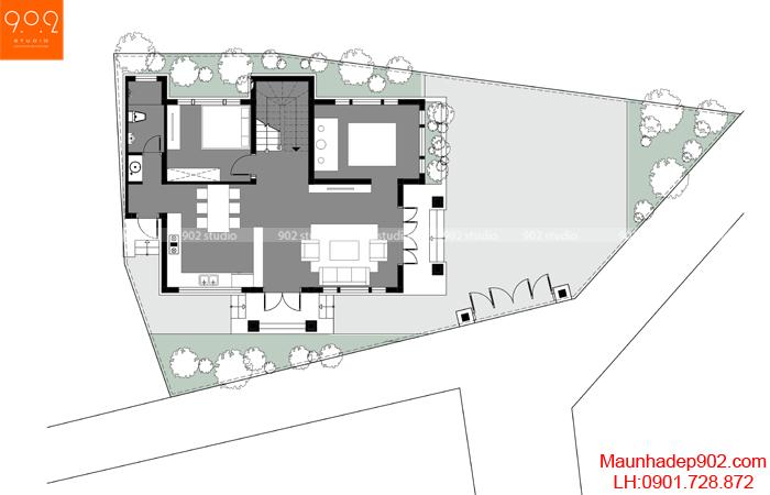 Mặt bằng tầng 1 - Mẫu nhà 2 tầng đẹp xây trên đát xéo 103m2