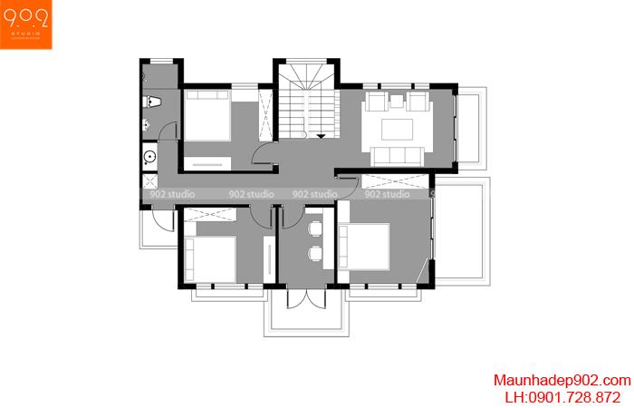 Mặt bằng tầng 2 - Mẫu nhà 2 tầng đẹp xây trên đát xéo 103m2