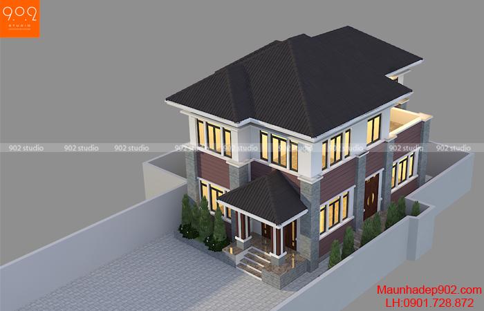 Mẫu nhà 2 tầng giá rẻ 100m2 với 4 phòng ngủ - BT161