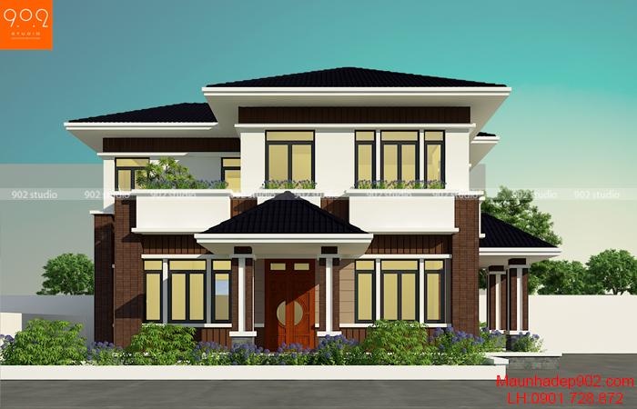 Mẫu nhà 2 tầng mái thái 100m2 tinh tế và giản dị - BT153