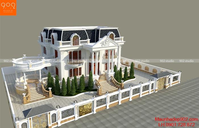 Tổng thể mẫu nhà 2 tầng hình vuông lộng lẫy và tráng lệ