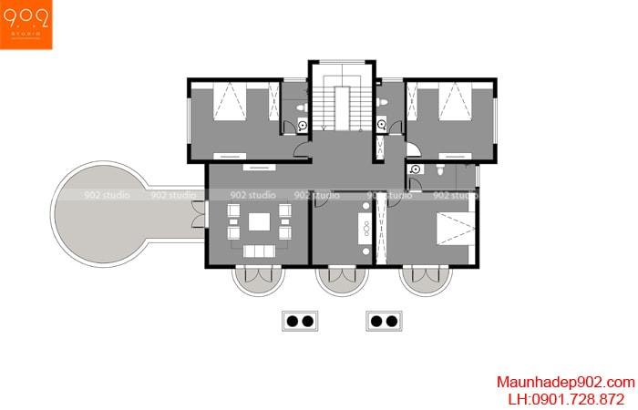 Khám phá mặt bằng công năng tầng 2 của mẫu nhà 2 tầng hình vuông BT165