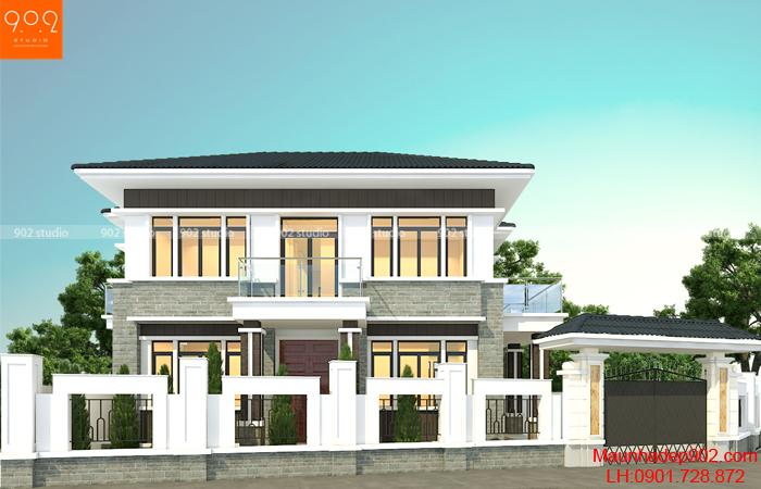 Mặt tiền mẫu nhà xây trên đất xéo 2 tầng đẹp