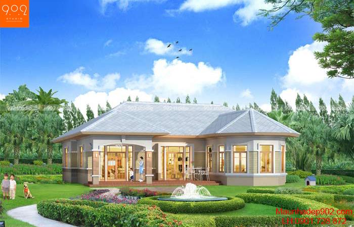 Thiết kế biệt thự sân vườn 1 tầng đẹp – BT38