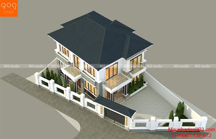 Mẫu nhà này được xây dựng trên mảnh đất bị xéo nhưng vẫn đảm bảo được tính thẩm mỹ và công năng sử dụng
