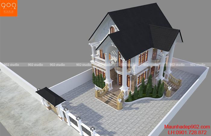 Mẫu nhà 2 tầng mái thái 3 phòng ngủ - BT163