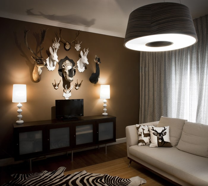 Không nên trang trí phòng khách bằng bộ phận của động vật để tránh các yếu tố phong thủy không tốt