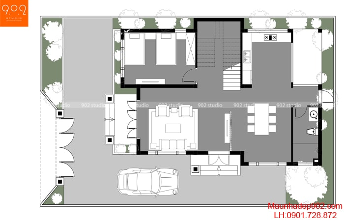 Mặt bằng tầng 1 - Mẫu biệt thự 2 tầng đẹp hiện đại