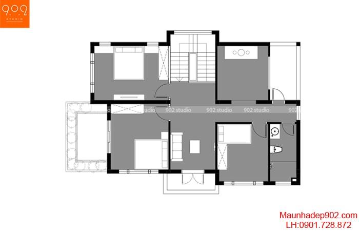 Mặt bằng tầng 2 - Mẫu biệt thự 2 tầng đẹp hiện đại