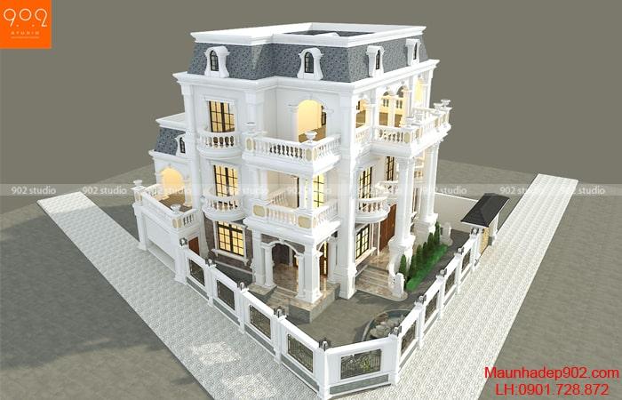 Thiết kế biệt thự 3 tầng tân cổ điển - BT187