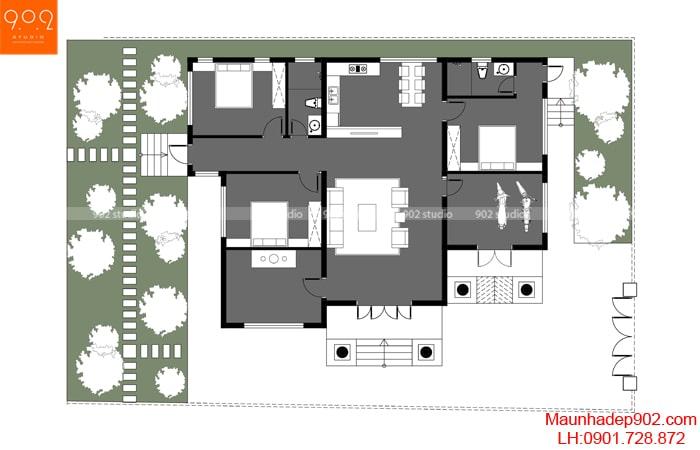 Mặt bằng mẫu biệt thự 1 tầng dưới 1 tỷ - BT187