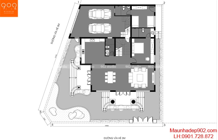 Mặt bằng tầng 1 - Mẫu biệt thự 3 tầng - BT188