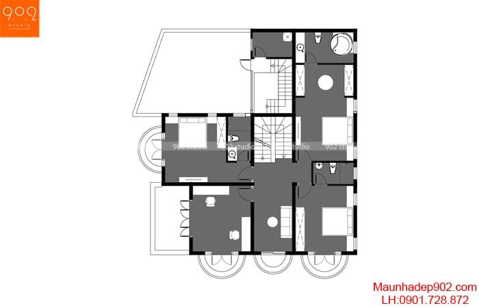 Mặt bằng tầng 2 - Mẫu biệt thự 3 tầng - BT188