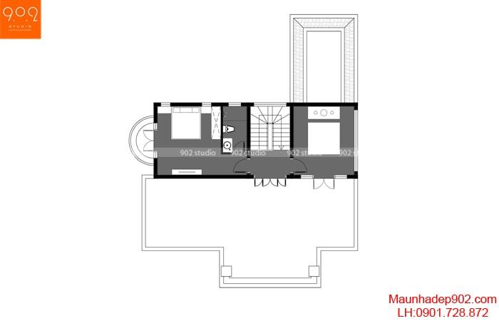 Mặt bằng tầng 3 - Mẫu biệt thự 3 tầng - BT188