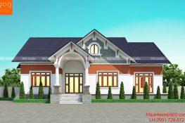 Thiết kế nhà 1 tầng 1 tum đẹp - BT189