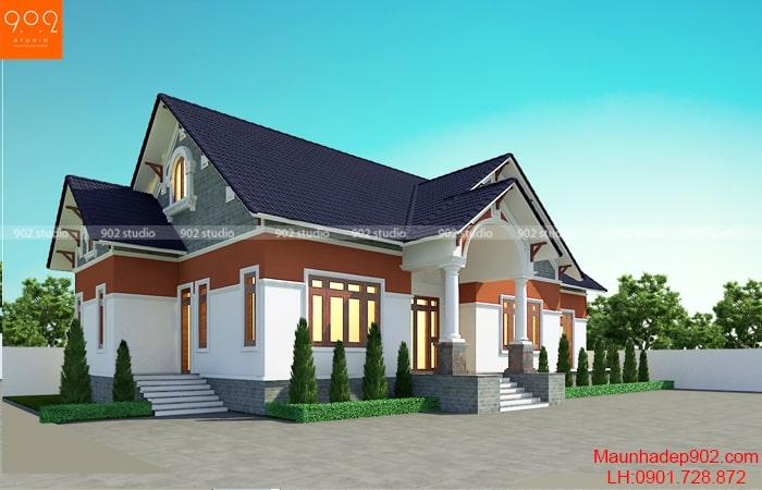 Mẫu thiết kế nhà 1 tầng 1 tum đẹp - BT189