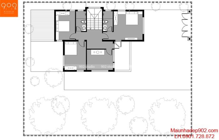 Hình ảnh 7: Mặt bằng công năng sử dụng tầng 2 mẫu thiết kế BT190