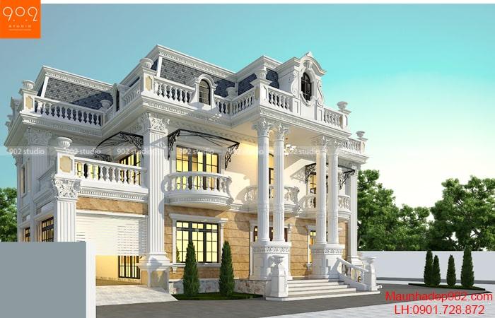 Thiết kế nhà 2 tầng 1 tum mái marsand sang trọng đẳng cấp - BT192