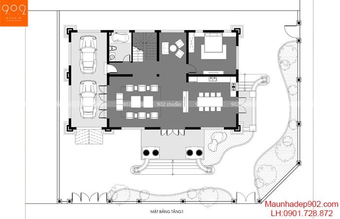 Mặt bằng tầng 1 - Nhà 2 tầng 1 tum mái marsand – BT191