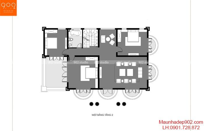 Mặt bằng tầng 2 - Nhà 2 tầng 1 tum mái marsand – BT191