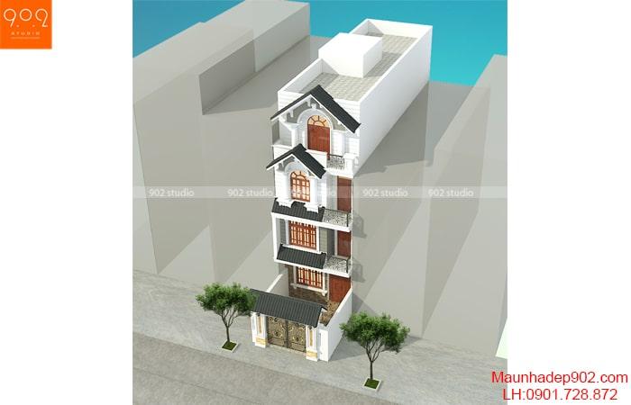 Một góc nhìn khác của mẫu thiết kế biệt thự phố 4 tầng đẹp - BT191