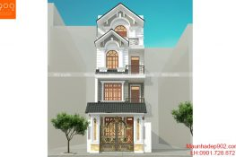 Mặt tiền mẫu thiết kế biệt thự phố 4 tầng đẹp - BT191