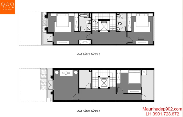 Mặt bằng tầng 3-4 biệt thự phố 4 tầng đẹp - BT191