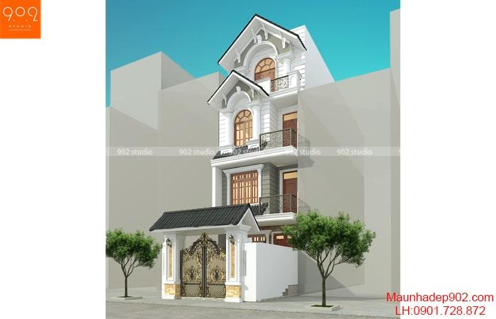 Phối cảnh mẫu thiết kế biệt thự phố 4 tầng đẹp - BT191
