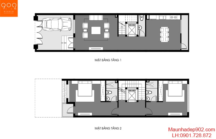 Mặt bằng tầng 1-2 biệt thự phố 4 tầng đẹp - BT191