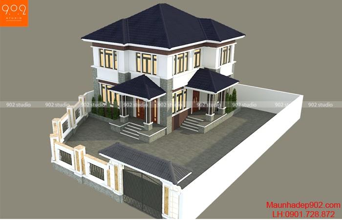 Phối cảnh view 3: Bản vẽ nhà 2 tầng 113m2 tại Bắc Giang