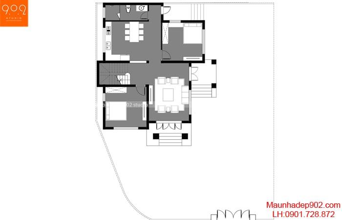 Mặt bằng tầng 1 - Mẫu nhà 2 tầng 113m2 đẹp
