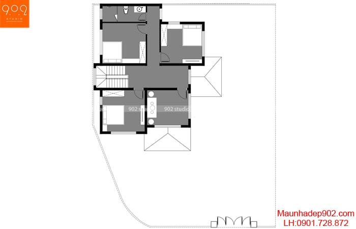Mặt bằng tầng 2 - Bản vẽ nhà 2 tầng đẹp