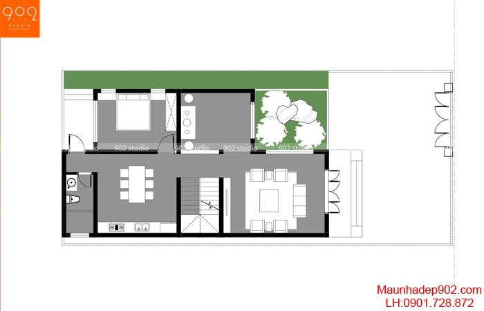 Phối cảnh view 5: Mặt bằng tầng 1 - Nhà 2 tầng chữ L BT194