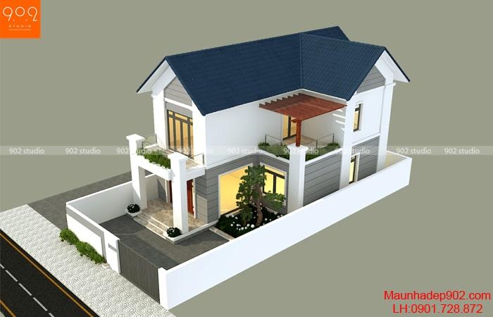 Phối cảnh view 4: Mẫu nhà 2 tầng chữ L 102 m2 - BT194