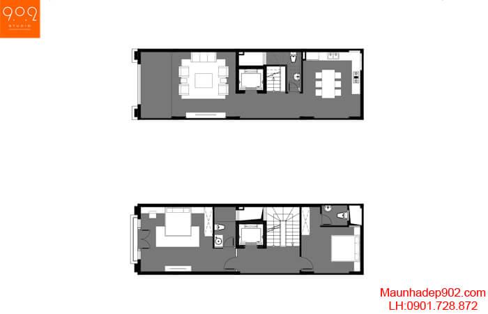Mặt bằng tầng 1,2 mẫu nhà phố đẹp