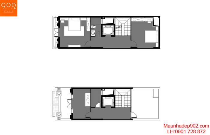 Mặt bằng tầng 3+4, 5 thiết kế nhà phố 5 tầng đẹp